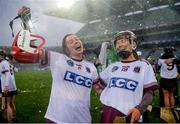 3 March 2019; Niamh Glass, left, and Ellís McGrath of Slaughtneil celebrate following the AIB All Ireland Senior Camogie Club Final match between Slaughtneil and St Martins at Croke Park in Dublin. Photo by Harry Murphy/Sportsfile