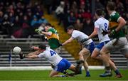 3 March 2019; Gavin O'Brien of Kerry in action against Ryan Wylie, left, and Karl O'Connell of Monaghan during the Allianz Football League Division 1 Round 5 match between Kerry and Monaghan at Fitzgerald Stadium in Killarney, Kerry. Photo by Brendan Moran/Sportsfile