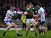 3 March 2019; Stephen O'Brien of Kerry in action against Colm Lennon, left, and Darren Hughes of Monaghan during the Allianz Football League Division 1 Round 5 match between Kerry and Monaghan at Fitzgerald Stadium in Killarney, Kerry. Photo by Brendan Moran/Sportsfile