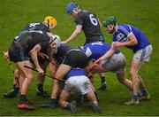 3 March 2019; Laois players, including Aaron Dunphy, Paddy Purcell and Neil Foyle and Dublin players including James Madden, Dáire Gray, Paddy Smith and Seán Moran, seek out the sliothar during the Allianz Hurling League Division 1B Round 5 match between Dublin and Laois at Parnell Park in Dublin. Photo by Ray McManus/Sportsfile