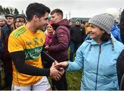 3 March 2019; The long serving Leitrim player Emlyn Mulligan celebrates amongst fans after the Allianz Football League Division 4 Round 5 match between Leitrim and London at Avantcard Páirc Seán Mac Diarmada in Carrick-on-Shannon, Co. Leitrim. Photo by Oliver McVeigh/Sportsfile