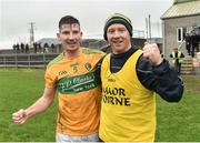 3 March 2019; Shane Quinn and Jason O'Reilly Leitrim selector celebrate after the Allianz Football League Division 4 Round 5 match between Leitrim and London at Avantcard Páirc Seán Mac Diarmada in Carrick-on-Shannon, Co. Leitrim. Photo by Oliver McVeigh/Sportsfile