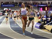 3 March 2019; Ciara Mageean of Ireland, right, after winning a bronze medal behind silver medalist Sofia Ennaoui of Poland in the Women's 1500m finals during day three of the European Indoor Athletics Championships at the Emirates Arena in Glasgow, Scotland. Photo by Sam Barnes/Sportsfile