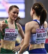 3 March 2019; Ciara Mageean of Ireland, left, after winning a bronze medal behind gold medalist Laura Muir of Great Britain in the Women's 1500m finals during day three of the European Indoor Athletics Championships at the Emirates Arena in Glasgow, Scotland. Photo by Sam Barnes/Sportsfile