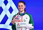 3 March 2019; Ciara Mageean of Ireland with her bronze medal after competing in the Women's 1500m finals during day three of the European Indoor Athletics Championships at the Emirates Arena in Glasgow, Scotland. Photo by Sam Barnes/Sportsfile