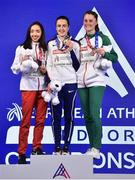 3 March 2019; Medalists, from left, silver Sofia Ennaoui of Poland, gold Laura Muir of Great Britain, and Ciara Mageean of Ireland after competing in the Women's 1500m finals during day three of the European Indoor Athletics Championships at the Emirates Arena in Glasgow, Scotland. Photo by Sam Barnes/Sportsfile