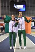 3 March 2019; Ciara Mageean of Ireland, who won a bronze medal in the Women's 1500m finals, alongside team-mate Mark English, who won a bronze medal in the Men's 800m finals, during day three of the European Indoor Athletics Championships at Emirates Arena in Glasgow, Scotland. Photo by Sam Barnes/Sportsfile