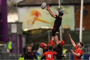 4 March 2019; Hugh Ross of CBC Monkstown wins possession in the lineout during the Bank of Ireland Vinnie Murray Cup Final match between CBC Monkstown and Catholic University School at Energia Park in Donnybrook, Dublin. Photo by Piaras Ó Mídheach/Sportsfile