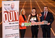 """5 March 2019; Athletics Ireland launch the """"Smoke Free Sport"""" initiative in association with the HSE, QUIT and Healthy Ireland' with, from left, Miriam Gunning, HSE Tobacco Free Campus Lead, Tobacco Free Ireland Ambassador and Hammer Thrower Michaela Walsh and Kieron Stout, National Children's Officer & HR Manager for Athletics Ireland at Morton Stadium in Santry, Dublin. Photo by David Fitzgerald/Sportsfile"""