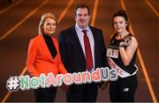 """5 March 2019; Athletics Ireland launch the """"Smoke Free Sport"""" initiative in association with the HSE, QUIT and Healthy Ireland' with, from left, Miriam Gunning, HSE Tobacco Free Campus Lead, Kieron Stout, National Children's Officer & HR Manager for Athletics Ireland and Tobacco Free Ireland Ambassador and Hammer Thrower Michaela Walsh at Morton Stadium in Santry, Dublin. Photo by David Fitzgerald/Sportsfile"""
