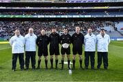 9 February 2019; Referee Paul Faloon and his officials before the AIB GAA Football All-Ireland Junior Championship Final match between Beaufort and Easkey at Croke Park in Dublin. Photo by Piaras Ó Mídheach/Sportsfile
