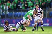 5 March 2019; Ronan Shaw of Gonzaga College is tackled by David Wilkinson of Clongowes Wood College during the Bank of Ireland Schools Senior Cup Semi-Final match between Gonzaga College and Clongowes Wood College at Energia Park in Donnybrook, Dublin. Photo by Ramsey Cardy/Sportsfile
