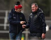 3 March 2019; Leitrim manager Terry Hyland, right, along with Leitrim selector Gary Donoghue during the Allianz Football League Division 4 Round 5 match between Leitrim and London at Avantcard Páirc Seán Mac Diarmada in Carrick-on-Shannon, Co. Leitrim. Photo by Oliver McVeigh/Sportsfile