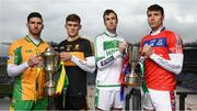 6 March 2019; Corofin's Martin Farragher, left, and Dr Crokes' Gavin White ahead of the AIB GAA All-Ireland Senior Football Club Championship Final and hurlers, St Thomas' Conor Cooney, right, and Ballyhale Shamrock's Joey Holden ahead of the AIB GAA All-Ireland Senior Hurling Club Championship Final taking place at Croke Park on Sunday, March 17th. Having extended their sponsorship of both Club and County for another five years in 2018, AIB is pleased to continue its sponsorship of the GAA Club Championships for a 29th consecutive year. For exclusive content and behind the scenes action throughout the AIB GAA & Camogie Club Championships follow AIB GAA on Facebook, Twitter, Instagram and Snapchat. Photo by Stephen McCarthy/Sportsfile