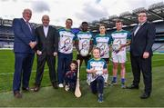 7 March 2019; In attendance, from left, Uachtarán Chumann Lúthchleas Gael John Horan, Kilmacud Crokes, and former Clare manager, Anthony Daly, RTÉ's Dessie Dolan, Westmeath footballer Boidu Sayeh, Dublin footballer Lyndsey Davey, Wicklow footballer Patrick O'Connor, Patrick Magee, Country Operations Director, Renault Group Ireland and 6 year old Nathan Dolan with 8 year old Katy May Magee during the Renault GAA World Games 2019 Launch at Croke Park in Dublin. Photo by Eóin Noonan/Sportsfile