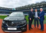 7 March 2019; In attendance, from left, Patrick Magee, Country Operations Director, Renault Group Ireland, Séamus Hickey, Chairman, GPA, and Uachtarán Chumann Lúthchleas Gael John Horan during the Renault GAA World Games 2019 Launch at Croke Park in Dublin. Photo by Eóin Noonan/Sportsfile