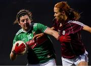 2 March 2019; Rachel Kearns of Mayo in action against Olivia Divilly of Galway during the Lidl Ladies NFL Division 1 Round 4 match between Mayo and Galway at Elverys MacHale Park in Castlebar, Mayo. Photo by Piaras Ó Mídheach/Sportsfile