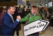 7 March 2019; Matt English, CEO, Special Olympics Ireland, with Emma Johnston, from Dublin, a member of the Ireland Basketball team on the team's departure from Dublin Airport in advance of the Special Olympics World Summer Games in Abu Dhabi, United Arab Emirates. Photo by Matt Browne/Sportsfile