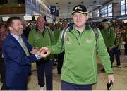 7 March 2019; Matt English, CEO, Special Olympics Ireland, with John Keating of the Golf Team on the team's departure from Dublin Airport in advance of the Special Olympics World Summer Games in Abu Dhabi, United Arab Emirates. Photo by Matt Browne/Sportsfile