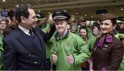 7 March 2019; Captain David Lee, left, and Etihad cabin crew member Alina Perseca, right, with Stephen Murphy, from Lucan, Co. Dublin, of the Basketball team on the team's departure from Dublin Airport in advance of the Special Olympics World Summer Games in Abu Dhabi, United Arab Emirates. Photo by Matt Browne/Sportsfile