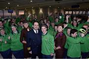 7 March 2019; Captain David Lee with Team Ireland member Stephen Murphy from Lucan Co Dublin who plays on the basketball team and Etihad cabin crew members Elodie Greffier,left, and Alina Perseca and athletes from the Ireland team on the team's departure from Dublin Airport in advance of the Special Olympics World Summer Games in Abu Dhabi, United Arab Emirates. Photo by Matt Browne/Sportsfile
