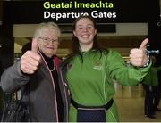 7 March 2019; Maureen Byrne, from Kilkenny, with her granddaughter Lucy Dollard from the Athletics team on the team's departure from Dublin Airport in advance of the Special Olympics World Summer Games in Abu Dhabi, United Arab Emirates. Photo by Matt Browne/Sportsfile