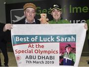 7 March 2019; Sarah Kilmartin, from Athlone, Co. Westmeath, of Team Ireland who competes on the athletics team with her dad Jimmy on the team's departure from Dublin Airport in advance of the Special Olympics World Summer Games in Abu Dhabi, United Arab Emirates. Photo by Matt Browne/Sportsfile