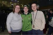 7 March 2019; Sara Shivas from Co. Antrim of Team Ireland basketball with her mum Elaina and brother Jonathan on the team's departure from Dublin Airport in advance of the Special Olympics World Summer Games in Abu Dhabi, United Arab Emirates. Photo by Matt Browne/Sportsfile