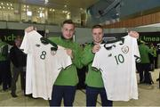 7 March 2019; Patrick Furlong and Daniel Byrne of the Ireland soccer team on the team's departure from Dublin Airport in advance of the Special Olympics World Summer Games in Abu Dhabi, United Arab Emirates. Photo by Matt Browne/Sportsfile