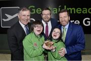 7 March 2019; Mayor of Fingal Cllr Anthony Lavin with, from left, Brendan Whelan, Chairperson of Special Olympics Ireland, team Ireland members Laura Rumball, from Dublin, and Eimear Gannon, from Dublin and Matt English, CEO of Special Olympics Ireland on the team's departure from Dublin Airport in advance of the Special Olympics World Summer Games in Abu Dhabi, United Arab Emirates. Photo by Matt Browne/Sportsfile
