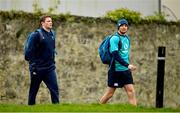 8 March 2019; Jack Carty, left, and Ross Byrne arrive for Ireland Rugby squad training at Carton House in Maynooth, Kildare. Photo by Ramsey Cardy/Sportsfile