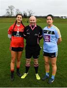 8 March 2019; UCC captain Eimear Meaney, left, and UCD captain Molly Lamb with referee Gus Chapman prior to the Gourmet Food Parlour O'Connor Cup Semi-Final match between University College Dublin and University College Cork at the GAA Centre of Excellence in Abbotstown, Dublin. Photo by David Fitzgerald/Sportsfile