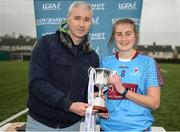 8 March 2019; Amy Wharton of GMIT is presented the trophy by Chairperson of HEC Donal Barry followingthe Gourmet Food Parlour Donaghy Cup Final match between Galway Mayo Institute of Technology and Marino at TU Dublin Broombridge Sports Grounds in Dublin. Photo by Harry Murphy/Sportsfile
