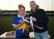 8 March 2019; Emma White of DKIT is presented with the trophy by Chairperson of HEC Donal Barry following the Gourmet Food Parlour Moynihan Cup Final match between Dundalk Institute of Technology and Letterkenny Institute of Technology at TU Dublin Broombridge Sports Grounds in Dublin. Photo by Harry Murphy/Sportsfile