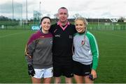 8 March 2019; Referee Niall McCormack with UL captain Eimear Scally, left, and QUB captain Eimear McAnespie prior to the Gourmet Food Parlour O'Connor Cup Semi-Final match between University of Limerick and Queens University Belfast at the GAA Centre of Excellence in Abbotstown, Dublin. Photo by David Fitzgerald/Sportsfile