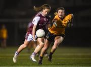 8 March 2019; Rachel Fitzmaurice of NUIG in action against Laura McGinley of DCU during the Gourmet Food Parlour O'Connor Shield Final match between NUI Galway and Dublin City University at TU Dublin Broombridge Sports Grounds in Dublin. Photo by Harry Murphy/Sportsfile