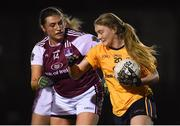 8 March 2019; Hannah McSceachain of UCD in action against Niamh Daly of NUIG during the Gourmet Food Parlour O'Connor Shield Final match between NUI Galway and Dublin City University at TU Dublin Broombridge Sports Grounds in Dublin. Photo by Harry Murphy/Sportsfile