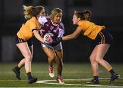 8 March 2019; Chloe Gilmore Miskell of NUIG in action against Sinead Finnegan, left, and Shannon McLaughlin of DCU during the Gourmet Food Parlour O'Connor Shield Final match between NUI Galway and Dublin City University at TU Dublin Broombridge Sports Grounds in Dublin. Photo by Harry Murphy/Sportsfile