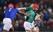 8 March 2019; John Hodnett of Ireland is tackled by Rayne Barka of France during the U20 Six Nations Rugby Championship match between Ireland and France at Irish Independent Park in Cork. Photo by Matt Browne/Sportsfile