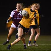 8 March 2019; Aisling Moloney of DCU in action against Cait Towe of NUIG during the Gourmet Food Parlour O'Connor Shield Final match between NUI Galway and Dublin City University at TU Dublin Broombridge Sports Grounds in Dublin. Photo by Harry Murphy/Sportsfile
