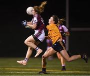 8 March 2019; Saoirse Ludden of NUIG in action against Laura McGinley of DCU during the Gourmet Food Parlour O'Connor Shield Final match between NUI Galway and Dublin City University at TU Dublin Broombridge Sports Grounds in Dublin. Photo by Harry Murphy/Sportsfile