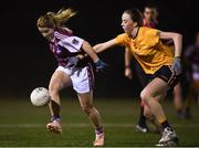 8 March 2019; Saoirse Ludden of NUIG in action against Aoibhinn Cleary of DCU during the Gourmet Food Parlour O'Connor Shield Final match between NUI Galway and Dublin City University at TU Dublin Broombridge Sports Grounds in Dublin. Photo by Harry Murphy/Sportsfile