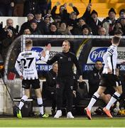 8 March 2019; Daniel Kelly of Dundalk is congratulated by manager Vinny Perth after scoring his side's third goal during the SSE Airtricity League Premier Division match between Dundalk and Waterford at Oriel Park in Dundalk, Co Louth. Photo by Seb Daly/Sportsfile