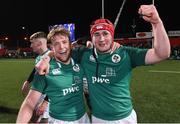 8 March 2019; Liam Turner, left, and John Hodnett of Ireland celebrate after the U20 Six Nations Rugby Championship match between Ireland and France at Irish Independent Park in Cork. Photo by Matt Browne/Sportsfile