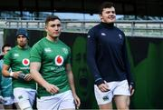 9 March 2019; Jordan Larmour, left, and Jacob Stockdale during the Ireland Rugby captain's run at the Aviva Stadium in Dublin. Photo by Ramsey Cardy/Sportsfile