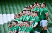 9 March 2019; The Ireland team during the squad photograph during the Ireland Rugby captain's run at the Aviva Stadium in Dublin. Photo by Ramsey Cardy/Sportsfile