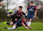 9 March 2019; Michael O'Keane of Bohemians is tackled by Cian McAllister of Sligo Rovers during the SSE Airtricity Under-19 National League match between Bohemians and Sligo Rovers at IT Blanchardstown in Blanchardstown, Dublin. Photo by Harry Murphy/Sportsfile
