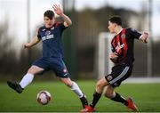 9 March 2019; Jack Casey of Bohemians in action against Aaron Perry of Sligo Rovers during the SSE Airtricity Under-19 National League match between Bohemians and Sligo Rovers at IT Blanchardstown in Blanchardstown, Dublin. Photo by Harry Murphy/Sportsfile