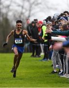 9 March 2019; Efron Giddey of Le Chéile Tyrrelstown, Dublin, on his way to winning the Senior Boys event at the Irish Life Health All Ireland Schools Cross Country at Clongowes Wood College in Clane, Co Kildare. Photo by Piaras Ó Mídheach/Sportsfile
