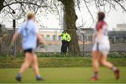 9 March 2019; A member of an Garda Síochána watches on during the Gourmet Food Parlour O'Connor Cup Final between University of Limerick and University College Dublin at DIT Grangegorman, in Grangegorman, Dublin. Photo by Eóin Noonan/Sportsfile